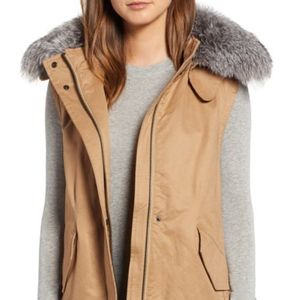 Derek Lam 10 Crosby Genuine Fox Fur Hooded Vest